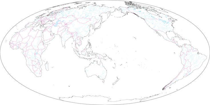 モルワイデ図法世界地図日本中心(国境あり)のフリー画像                                                                                                                                                                                 もっと見る