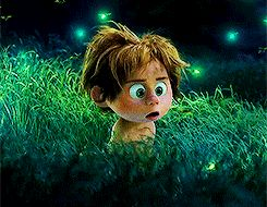 "I'm A Grown-Up Disney Kid — ""The Good Dinosaur"" - Definitely Go See It! READ IT: http://grown-up-disney-kid.tumblr.com/post/133958827409/the-good-dinosaur-definitely-go-see-it   Spot animated gif fireflies"