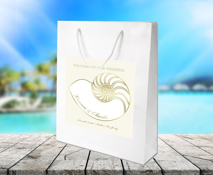 (sku447) Nautilus seashell design for beach Wedding Welcome Bags, custom label on white gloss bag for hotel guests hospitality gift bags or wedding favors