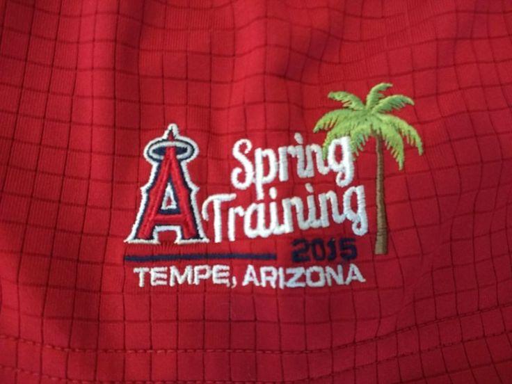 $26.00    Antigua Red Men's Henley Dress Shirt 2015 L.A. Angles Spring Training 2015 XL #Antigua #Standard