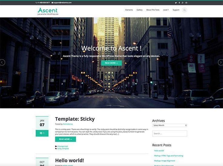 Tema WordPress gratuito para blogs personales y de empresa - Ascent