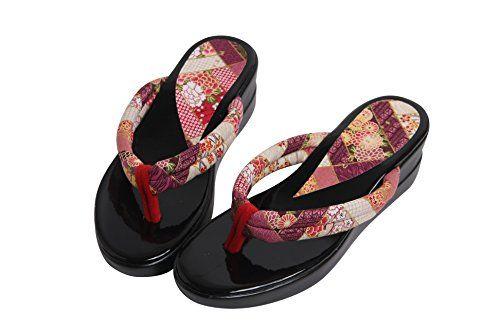 普段着や浴衣にも似合う 和柄サンダル歩きやすいウレタンソール (パープル紺ブラウン)SMLサイズ日本製