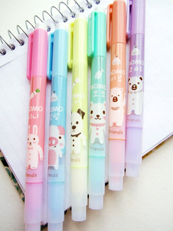 Kawaii Animal Highlighter Set by ShipshapeSupply on Etsy, $6.50