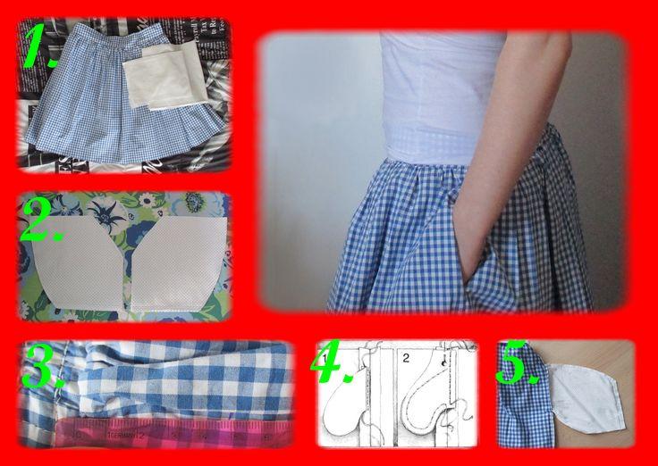 Wszywamy kieszenie w szwie spódnicy w kratę:)  Czarno-biała ilustracja pochodzi ze strony: http://www.kobieta.twojetrojmiasto.pl/index.php/kurs-szycia/98680-kieszen-w-szwie