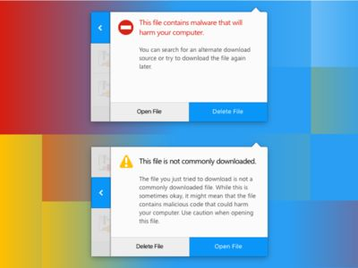 Slide-over Download Warning Panels