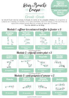 Le circuit Crush : il vise les cuisses, le fessier, le ventre et les poignées d'amour, bref ce que 90% des femmes veulent affiner et/ou tonifier. (Fitness Femme Ventre)