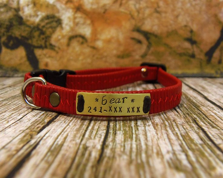 Cat Collar, Elastic Red Leatherette Collar, Cat Collar Breakaway, Personalized Cat Collar, Personalized Collar,Collier pour chat, Cat id tag by VacForPets on Etsy