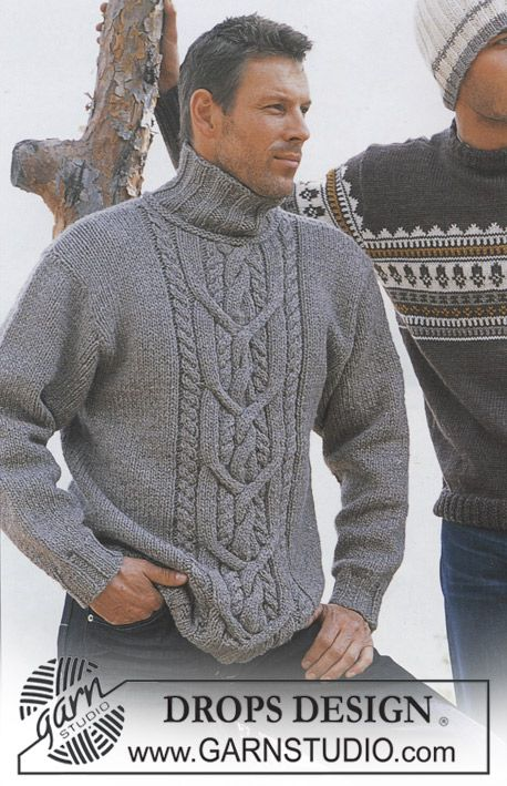 Pullover in Alaska and Silke-Tweed ~ (XS-XXL) - Nice high collar and fine cable pattern