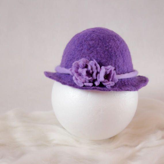 Felted newborn hat purple lavender girl brim with by EsartFelt