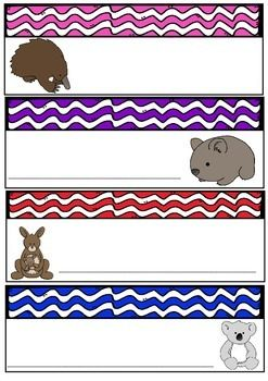 Australian Animals -  Desk Tags -  Name Labels - Locker Labels-Australia Theme  7 pages of colored/coloured name tags/desk plates/name labels for students desks or to use for labels in your classroom  Each page has four labels so 7 x 4 = 28 labels  There are a variety of Australian Animals with wave borders in lovely bright colors/colours  Simply print, write, laminate & cut and you're ready to go!