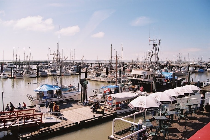 View to Steveston Fish Market at Fisherman's Wharf in front of Sockeye City Grill #stevestonrealestate