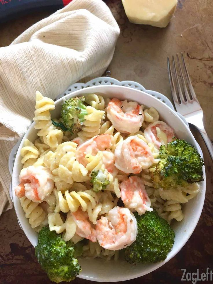 Roasted Broccoli and Garlic Shrimp Pasta - a healthy rendition of classic comfort food...
