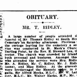 Obituary Mr T Ridley