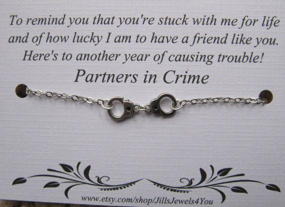Handcuff Partners in Crime Bracelet Friendship by JillsJewels4You