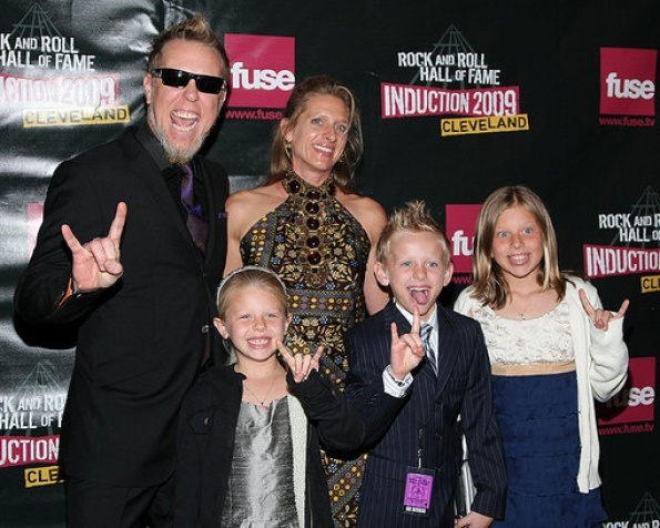 James Hetfield  &  family at the R Hall of Fame induction ceremony in Cleveland, 4/4/09. (Pht: Loccisano/Getty via| Rolling Stone.)