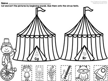 Circus Themed Letters & Beginning Sounds FREE Sample