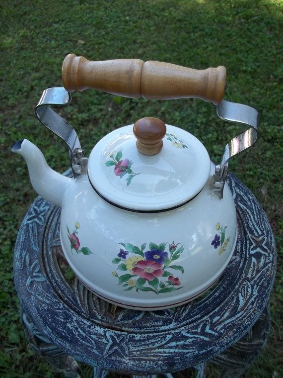vintage enamel teapot tea kettle with flowers