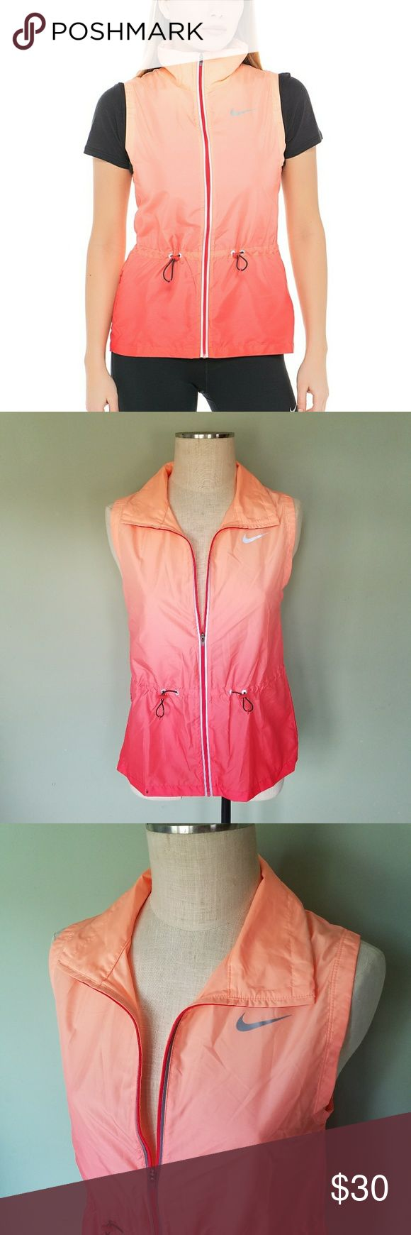 "Nike Ombre Gradient Wind Resistant Dri-Fit Vest Nike.  Size Medium.  Wind breaker vest.  ""For a relaxed look, invest in Nike's sleeveless, wind-resistant Dri-Fit vest jacket. This orange ombré design is accented with drawstring cords at the waist and reflective accents."" Zip up front.  Peach/coral/orange/pink Perfect condition! Nike Jackets & Coats Vests"