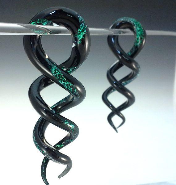 Two-Tone Dichroic Helix Shapes CUSTOM Ear Plug Gauges Borosilicate spiral Pyrex 8g,6g,4g,2g,1g,0g, 00g on Etsy, $74.07 CAD
