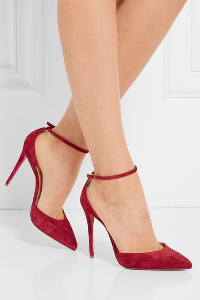 Heel measures approximately 100mm/ 4 inches Crimson suede Buckle-fastening ankle strap Made in Italy