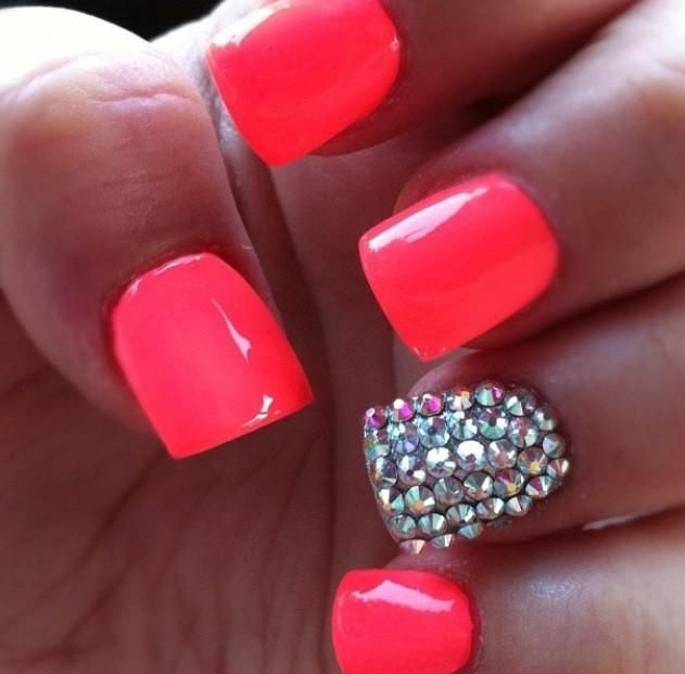 Twitter / HeartofABarbie: Neon PINK nails with sparkles ...