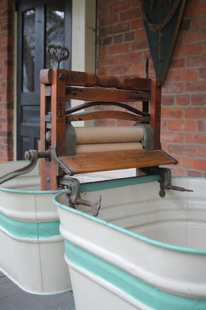 """Vintage 'washing machine'; two wash tubs and a hand crank press to squeeze the water out. """"Good old days"""" my left patoot!"""