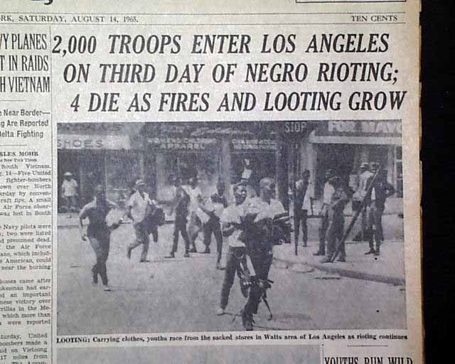 the watts riots essay Watts, the 1965 los angeles riots, and the communicative construction of the fear epicenter of los angeles a previous version of this paper was presented at the.