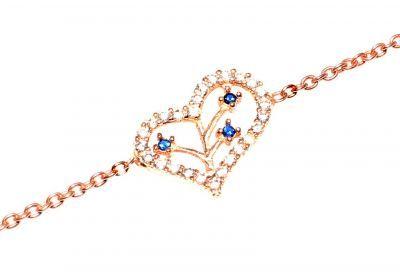 925 Ayar Gümüş Dallı Kalp Modeli Zincir Bileklik, Pembe