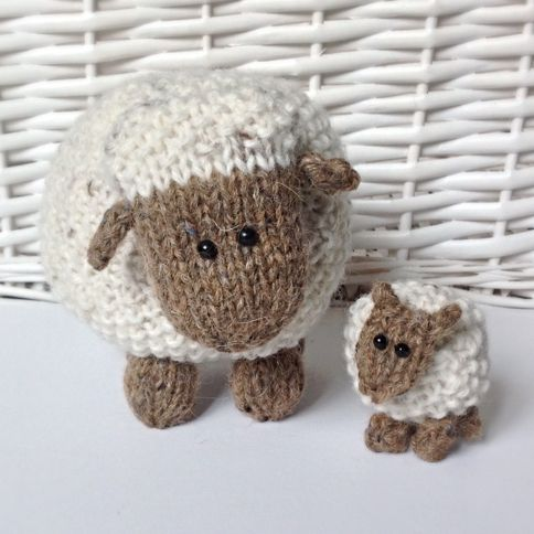 Moss the Sheep toy knitting patterns by The Berry Woods