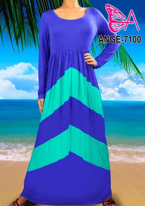 Mijanjou Womens Plus Size Chevron Print Long Sleeve Style Maxi Dress - Blue #SteushInc #Maxi #Cocktail