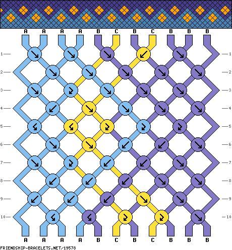 friendship bracelet pattern ● diamond ● zigzag ● 11S ● 3C ● A(4), B(5), C(2)