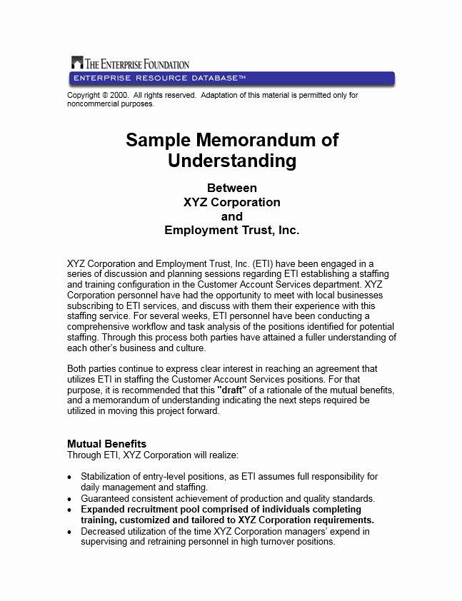 Memorandum Of Understanding Sample Inspirational Sample Memorandum Of Understanding Between Xyz Corporation In 2020 Memorandum Understanding Name Tag Templates