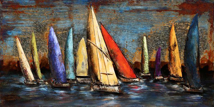 Trendykunst presenteert dit prachtige schilderij van een gekleurde zeilbootjes tegen een donkere lucht  Metalen 3D schilderij met warme kleuren.  Schilderij helemaal gemaakt van metaal.