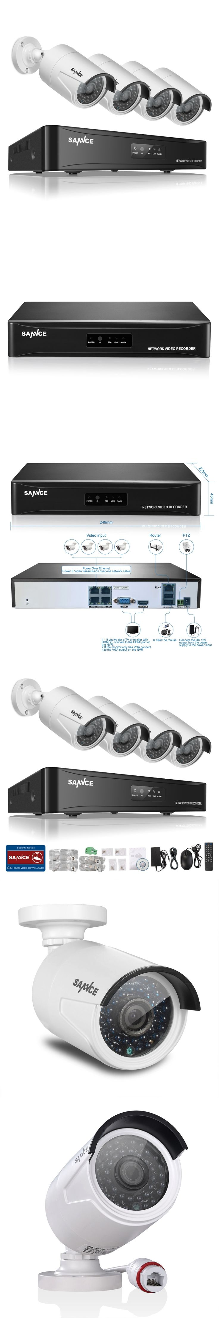 SANNCE 4CH NVR 960P IP Network PoE Video Record 1.3M IR Outdoor CCTV Security Camera System Home video Surveillance kit RU Stock