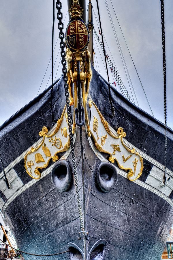 The bow of the SS Great Britain, steamship designed by Isambard Kingdom Brunel dating from 1845.