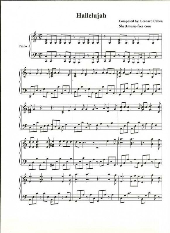 Leonard Cohen Hallelujah Sheet Music Piano With Images