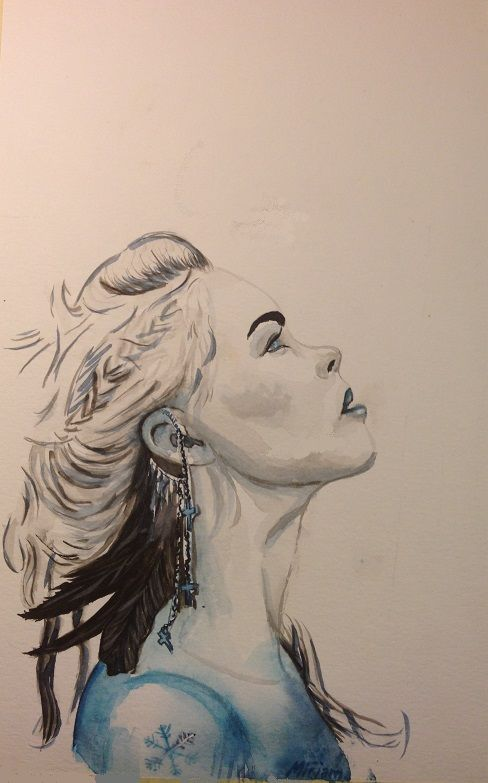 Expectation. Snow queen. Blue/black/white. Woman face aquarell/watercolor painting. Facebook page: Mirjam's Art https://www.facebook.com/pages/Mirjams-Art/152757271491447?ref=bookmarks
