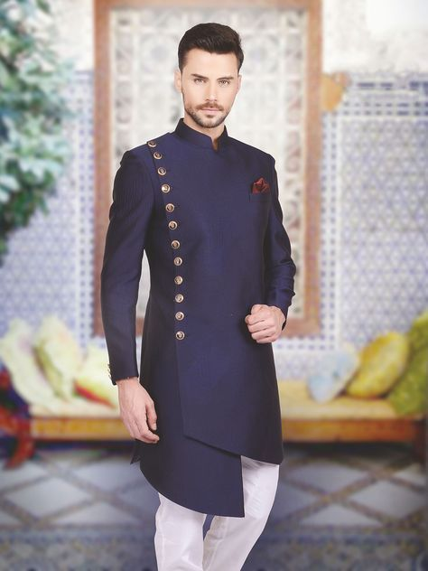 Shop Designer silk plain navy indo western online from G3fashion India. Brand - G3, Product code - G3-MIW2406, Price - 13095, Color - Navy, Fabric - Silk,