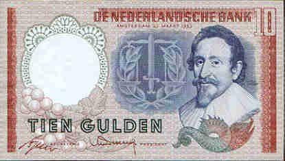 Nederlands geld uit de jaren 50 tot 70 10 guldenbiljet voorkant