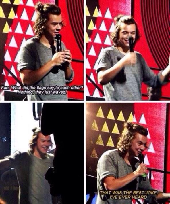 #1D2014Highlights harry's cute reaction to this joke aww