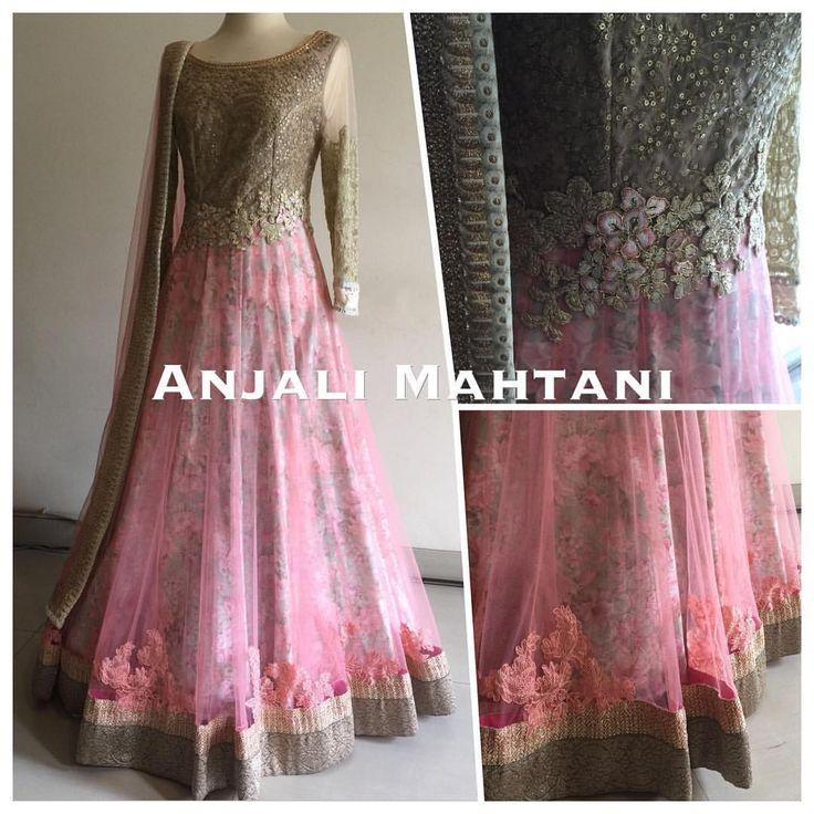 Beautifully decorated pink anarkali by anjali mahtani