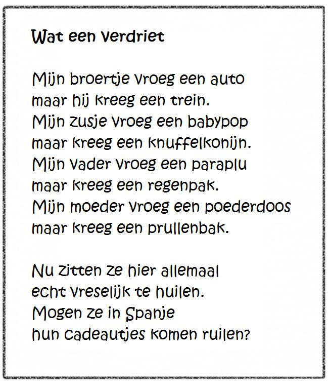 Versje Quot Wat Een Verdriet Quot Liestr Bc Sinterklaas