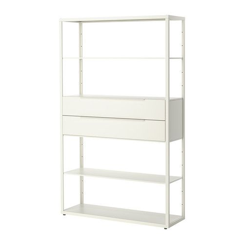 concept--I'm not really a fan of the industrial type materials FJÄLKINGE Shelving unit with drawers   - IKEA