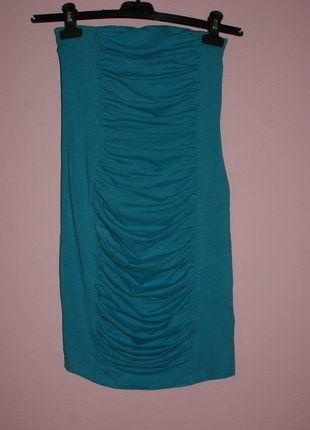 Kup mój przedmiot na #vintedpl http://www.vinted.pl/damska-odziez/krotkie-sukienki/16538081-niebieska-sukienkta-tuba-z-marszczeniami-z-przodu