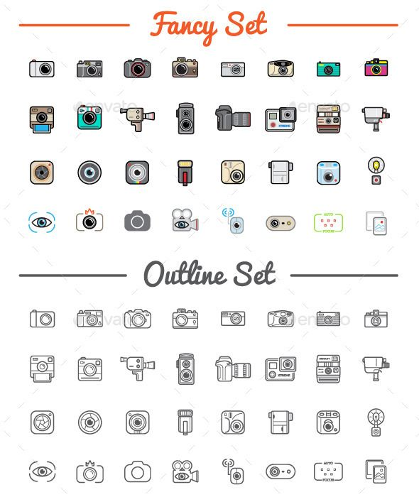 Great 32+32 Vector Photo/Camera Icons Set - Icons