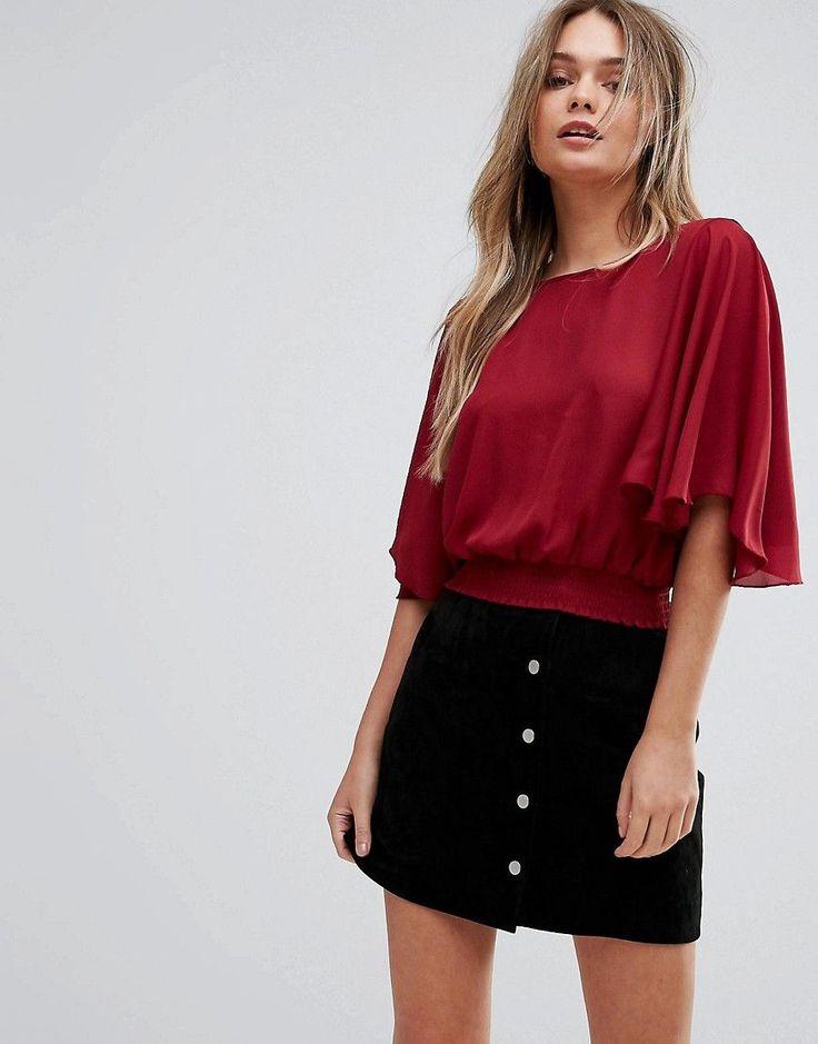 New Look Flutter Sleeve Crop Top - Red
