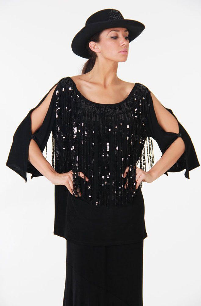Black Peasant Top with Sequines: Western Wear | Women Western Clothing | Western Apparel Clothing