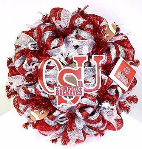 The Ohio State Buckeye College Football Fan Deco Mesh Door Wreath * Want additional info? Click on the image. (Amazon affiliate link)