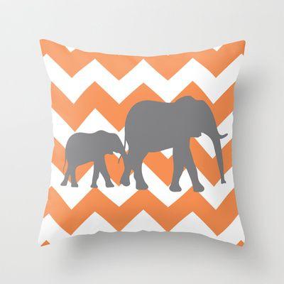 Chevron Elephants Orange And Grey Throw Pillow By