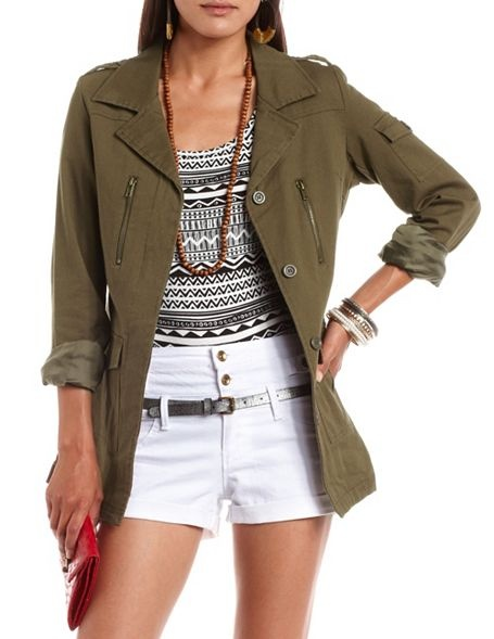 Button-Down Military Jacket: Military Jackets, Buttons Down Military, Charlotte Russe, Actually Military, Blazers Jackets, Big Guns, Cute Outfit, Buttondown Military, Military Trends
